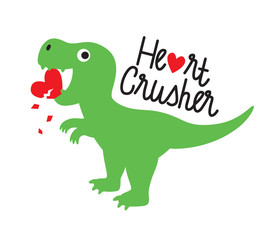 Cute green dinosaur crushing heart. Valentine dinosaur vector illustration.