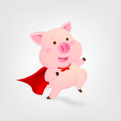 Super Pig on white background. Chinese new year. The Year of pig.