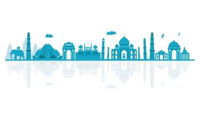 Vector illustration. India skyline detailed silhouette. Fototapete