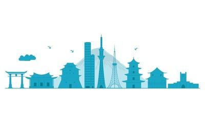 Japan Skyline. Detailed Vector Illustration.