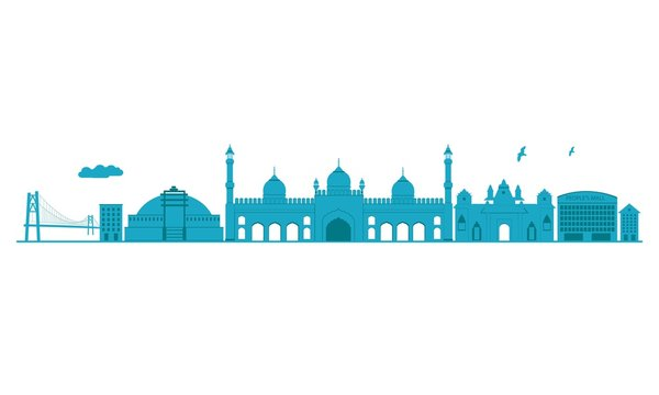 Bhopal Skyline. Detailed Vector Illustration. Isolated on white background.