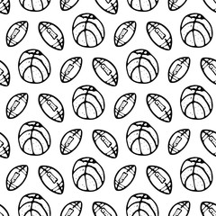 Seamless pattern Hand drawn ball doodle. Sketch Back to school, icon. Decoration element. Isolated on white background. Vector illustration