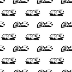 Seamless pattern Hand drawn book doodle. Sketch Back to school, icon. Decoration element. Isolated on white background. Vector illustration
