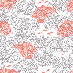 Графический бесшовный узор на белом фоне с изображением  кустов кораллов с серыми ветками и кустов кораллового цвета с белыми ветками.