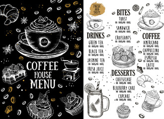 Coffee house menu. Restaurant cafe menu, template design. Food flyer.