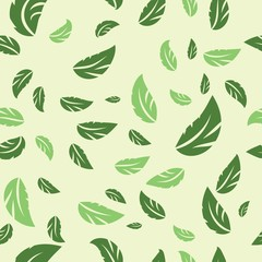Green leaves on green background seamless pattern. Vector illustration