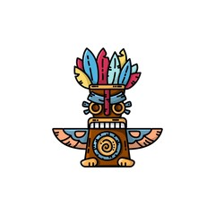 Colorful totem flat vector icon. Tribal symbol isolated illustration
