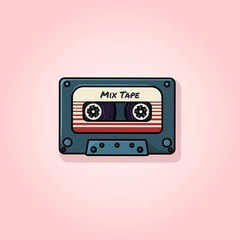 Plastic audio compact cassette tape - web illustration