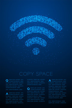 Abstract Geometric Bokeh circle dot pixel pattern Wifi symbol, Internet connect concept design blue color illustration isolated on blue gradient background with copy space, vector