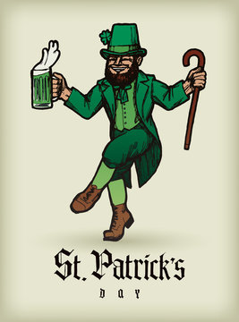 St. Patrick's day Leprechaun Guy dancing with a beer and a stick - vintage realistic illustration