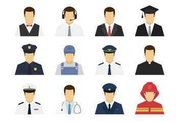 Professions set avatar icons. Waiter, support worker, businessman, student, policeman, plumber, pilot, doctor, driver, fireman. Flat simple vector illustration.