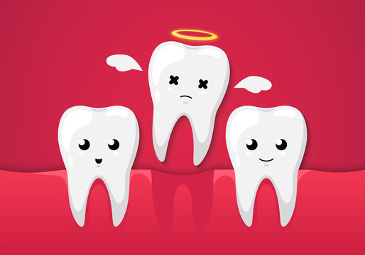 Tooth isolated on a red background. Cute cartoon character. Tooth missing, dental disease. Dental health, care. Simple cartoon design. Flat style vector illustration.