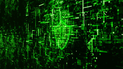 Hi-Tech digital technology cyber security display holographic information abstract background