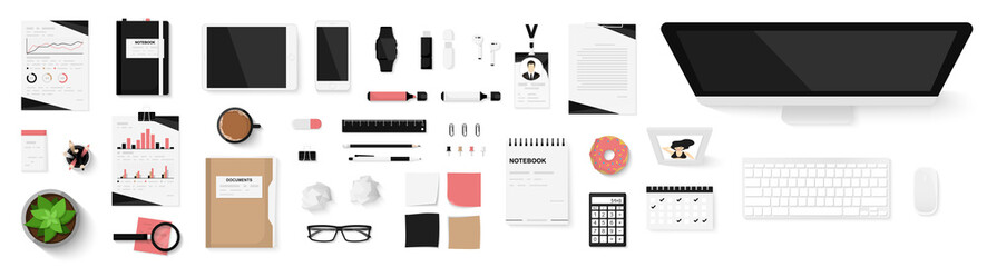 Office objects set isolated on white background. Working space. Top view of workplace desk. Realistic objects. View from above. Simple cute modern and stylish design. Flat style vector illustration.