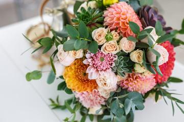 Fotobehang Dahlia bright wedding bouquet of summer dahlias and roses