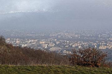 Fog and pollution cloud on the city of Grenoble