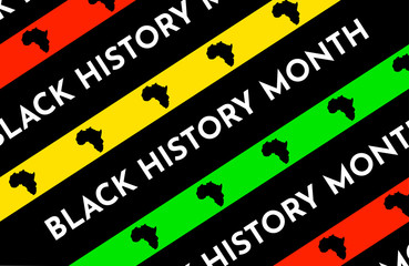 Vector illustration background with black and red, yellow, green stripes. Black history month. African continent silhouette