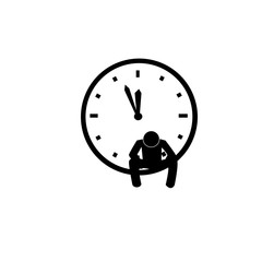 unhappy man with clock sign, vector illustration.