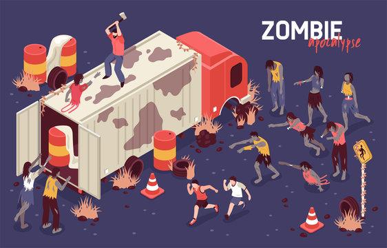 Isometric Zombie Struggle Background