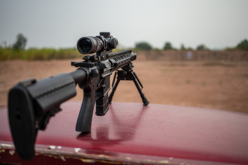 assault rifle on shooting field