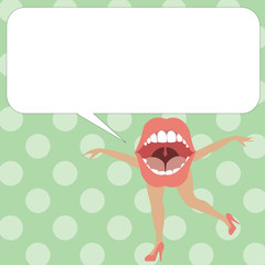 Flat design business Vector Illustration concept Empty template copy space Posters coupons promotional material. Open Mouth with arms and legs Singing Dancing Blank white Speech Bubble