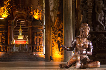 Beautiful view of buddhist sculpture near the Temple of Truth in Pattaya, Thailand