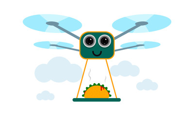 Drone Taco Delivery Concept Vector Illustration. Quadcopter transporting taco, food. Flat style design.