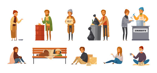 Homeless People Cartoon Icon Set Fotomurales