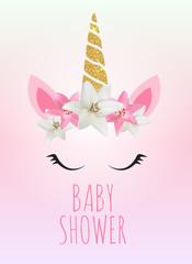 Baby shower with unicorn invitation. Vector Illustration