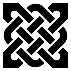 Einfacher Keltischer Knoten in Schwarz auf isolierten weißem Hintergrund.