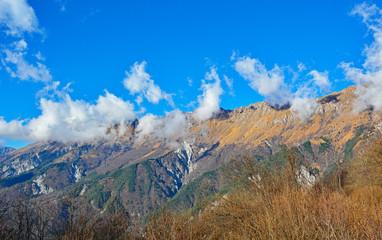 The early December mountain landscape near Taipana in Friul Venezia Giulia, north east Italy