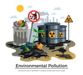 Pollution Ecology Flat Composition