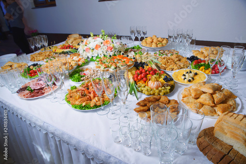 decoration of the festive buffet table, decorations and snacks ...