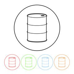 Oil barrel icon in a thin line style vector oil drum sign symbol with four color variations vector illustration isolated on a white background