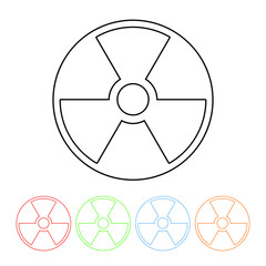 Nuclear symbol icon in a thin line style vector nuclear energy sign with four color variations vector illustration isolated on a white background