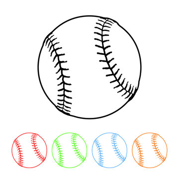 Baseball icon in a thin line style vector sports baseball symbol with four color variations vector illustration