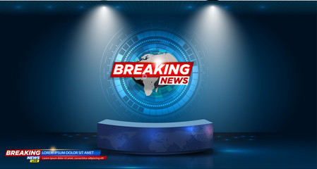 Table and breaking news banner background in the news studio . vector illustration
