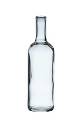 empty glass bottle for alcoholic beverages without stopper isolated on a white background