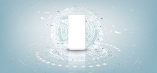 Realistic white smartphone mockup with futuristic technology concept, mobile phone abstract background, vector