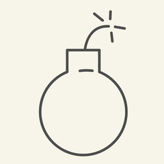 Bomb thin line icon. Ball vector illustration isolated on white. Boom outline style design, designed for web and app. Eps 10.