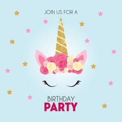 Birthday party invitation with cute unicorn and flower. Vector Illustration