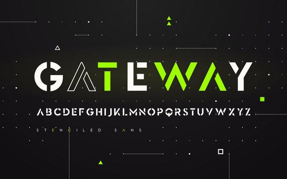 Stenciled futuristic san serif, alphabet, uppercase letters, typ
