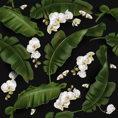 Vector pattern with banana leaves and orchid
