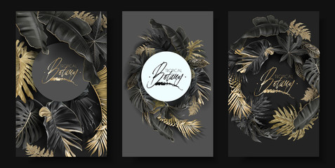Vector round banners set with gold tropical leaves