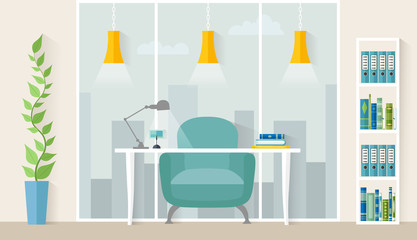 Office room with panoramic windows, table and chair. Design workspace in flat style. Vector illustration. Cabinet.