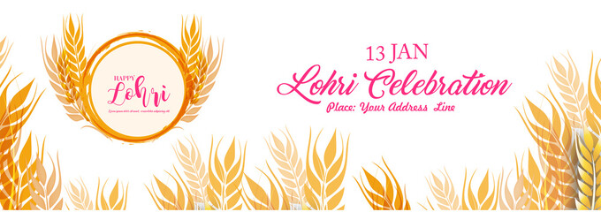 Lohri celebration with Crop and borfire with white background with typography.