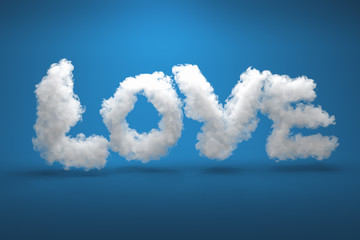 3D rendering: Love is in the air - The letters LOVE as clouds in front of a blue sky background and casting shadows