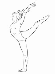 illustration of a gymnast woman, vector draw