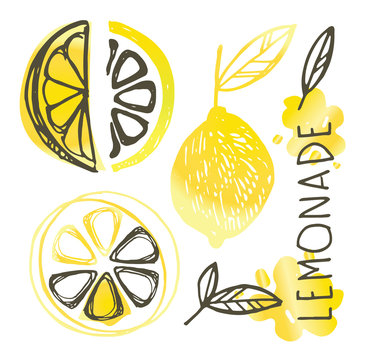 Hand drawn doodle lemon art - lemonade pattern background