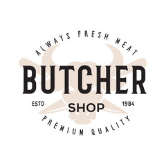 Butcher shop label badge emblem. Butchery store advertising design elements. Meat shop typography.